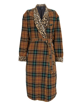 Winter Robe Wool Plaid Coat by R13