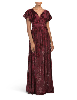 Flutter Sleeve V Neck Velvet Burnout Gown by Tj Maxx