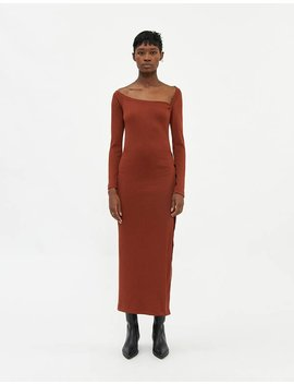 Laureen Knit Dress In Rust by Stelen Stelen