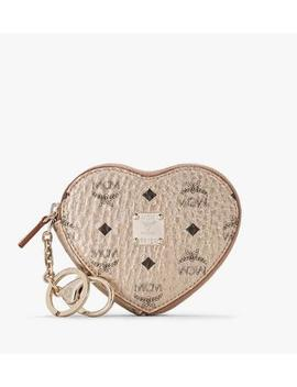 Heart Coin Pouch Charm In Visetos by Mcm