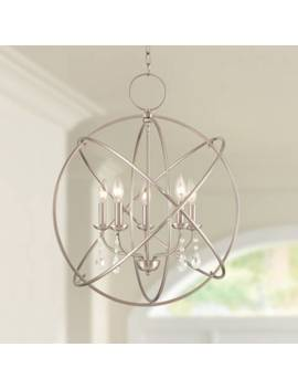 "Aria 22"" Wide Brushed Nickel 5 Light Chandelier by Lamps Plus"
