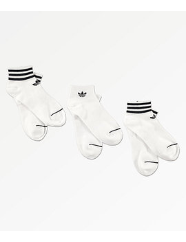 Adidas 3 Pack White & Black Ankle Socks by Adidas