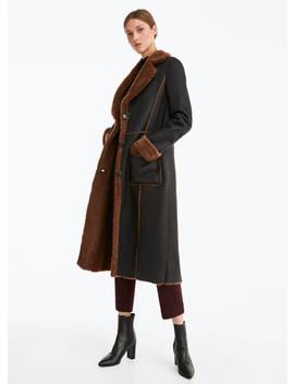 Black Leather Coat by Uterqüe