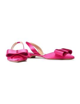 Bow Embellished Satin Slingback Point Toe Flats by Paul Andrew