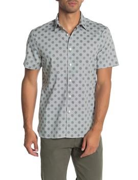 Short Sleeve Perry Dot Print Slim Fit Shirt by Perry Ellis