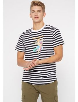Black Striped Now Or Never Graphic Tee by Rue21