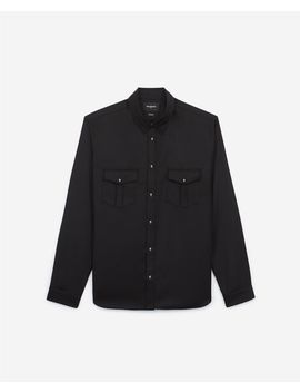 Black Shirt For Men With Patch Pockets by The Kooples