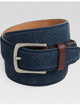 Cole Haan Navy Suede Tooled Belt by Cole Haan