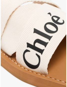 White Woody Logo Strap Sandals by Chloé