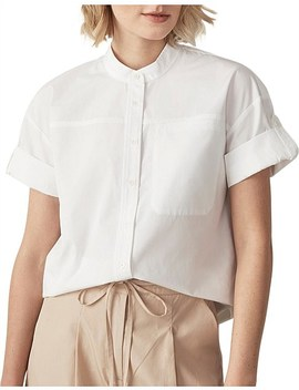 Cotton Poplin Tab Sleeve Shirt by Trenery