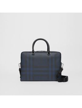 London Check And Leather Briefcase by Burberry