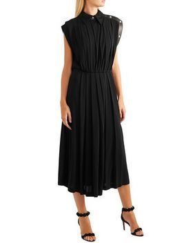 Leather Trimmed Pleated Jersey Midi Dress by Givenchy