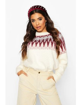 Aztec Tinsel Fluffy Christmas Jumper by Boohoo