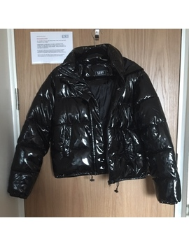 Black Pvc Puffer Coat • Size 10  In Great Condition, by Depop