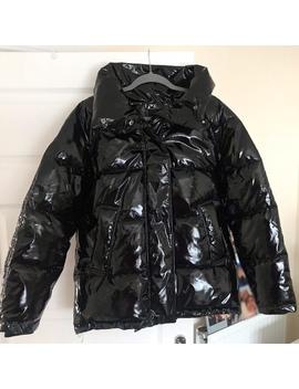 Monki Vinyl Shiny Pvc Black Padded Puffer Jacket / by Depop