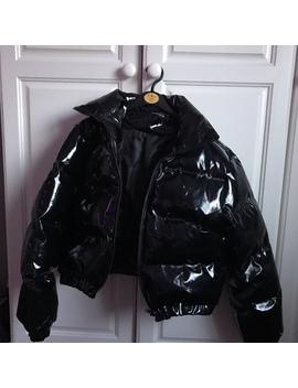 Black Cropped Vinyl Puffer Jacket • Uk Size 10 But by Depop