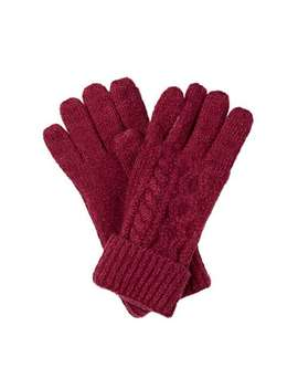 Cable Red Knitted Gloves by Olivar Bonas