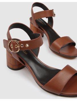 Monarch Mid Heel Sandals Tan Leather by Jo Mercer
