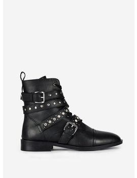 Black 'opal' Jewelled Leather Biker Boots by Dorothy Perkins