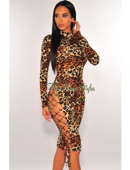 Leopard Print Long Sleeves Lace Up Slit Dress by Hot Miami Style