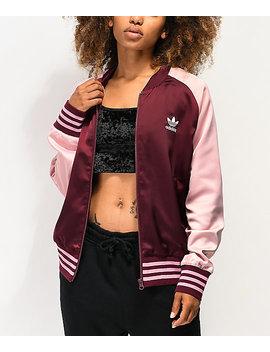 Adidas Maroon & Pink Satin Track Jacket by Adidas