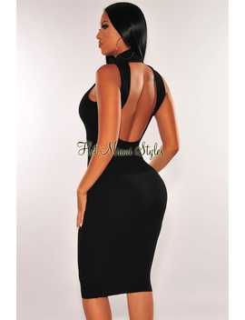 Black Ribbed Knit Mock Neck Cut Out Back Dress by Hot Miami Style
