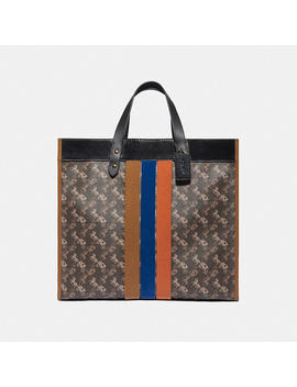 Field Tote 40 With Horse And Carriage Print And Varsity Stripe by Coach