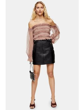 Black Hardware Seam Pu Mini Skirt by Topshop