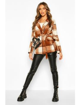 Check Tailored Wool Look Coat by Boohoo