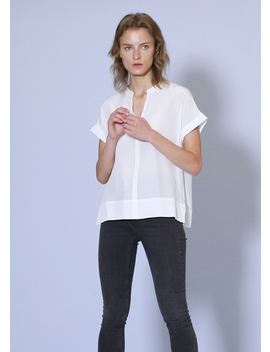 Versatile Split Neck Silk T Shirt by Lily Silk