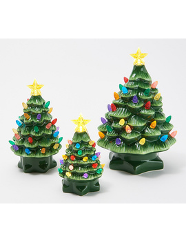 Mr. Christmas Set Of 3 Lit Graduated Ceramic Nostalgic Trees by Mr Christmas.