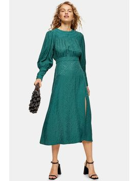 Green Jacquard Midi Dress by Topshop