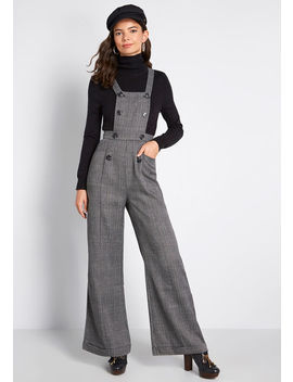 Nostalgic And Noteworthy Plaid Overalls by Collectif