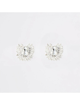 Silver Colour Jewel Statement Stud Earrings by River Island
