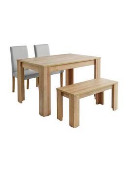 Argos Home Miami Oak Effect Table, Bench & 2 Grey Chairs852/7839 by Argos