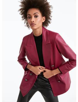 Buttoned Leather Blazer by Uterqüe