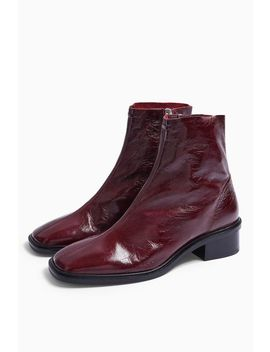 Arrow Leather Burgundy Flat Leather Boots by Topshop
