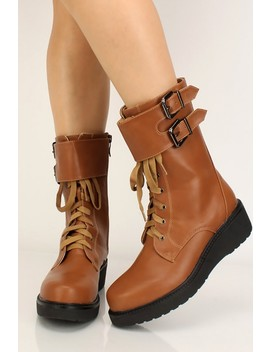 Camel Faux Leather Lace Up Platform Booties by Ami Clubwear
