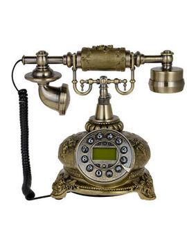 108 B Bronze Retro Vintage Push Button Ceramic Antique Telephone Dial Desk Phone by Kmise