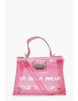 Slogan Clear Mini Lock Grab Bag Slogan Clear Mini Lock Grab Bag by Boohoo