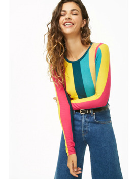 Brushed Striped Colorblock Jumper by Forever 21