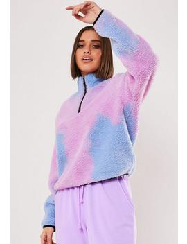 Lilac Tie Dye Borg Zip Through Sweatshirt by Missguided