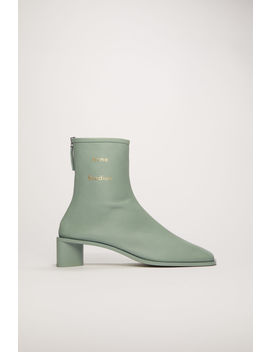 Branded Leather Boots Pastel Green by Acne Studios