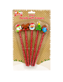 Christmas Pencils With Eraser Toppers   Pack Of 5 by The Works