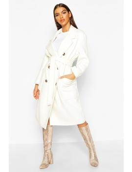 Brushed Double Breasted Belted Wool Look Coat by Boohoo