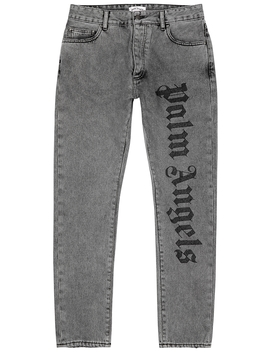 Grey Logo Embroidered Slim Leg Jeans by Palm Angels
