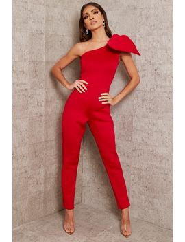 Red Bow Shoulder Skinny Leg Jumpsuit by I Saw It First