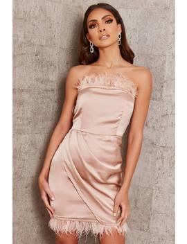 Dusky Pink Feather Satin Bandeau Wrap Dress by I Saw It First