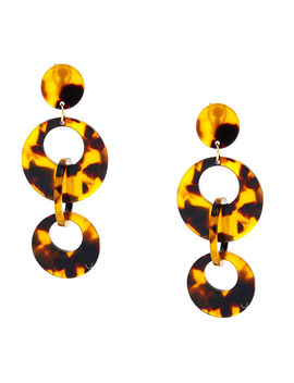 "2.5"" Round Resin Tortoiseshell Link Clip On Drop Earrings   Brown by Claire's"