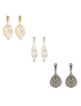 "Mixed Metal 1.5"" Filigree Leaf Clip On Drop Earrings by Claire's"